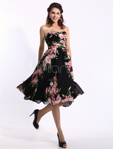4695d8add5a ... Black Prom Dresses 2019 Short Strapless Floral Print Cocktail Dress  Sweetheart Chiffon Party Dress Wedding Guest ...