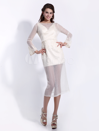 Pretty Sheath Jewel Neck Beading Long Sleeves Tulle Cocktail Dress  Milanoo