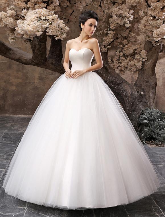 vestido de novia princesa 2019 de tul con escote en corazón