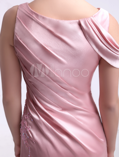 Gorgeous Pink Jewel Neck Pleated Sheath Elastic Woven Satin Evening Dress  Milanoo
