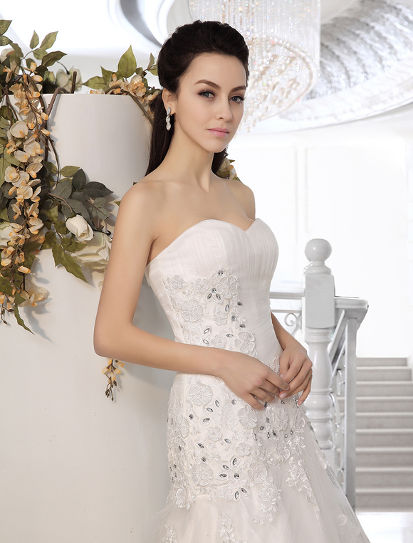 ... Strapless Wedding Dresses Mermaid Lace Applique Bridal Gown Rhinestones  Dropped Waist Court Train Bridal Dress  ...