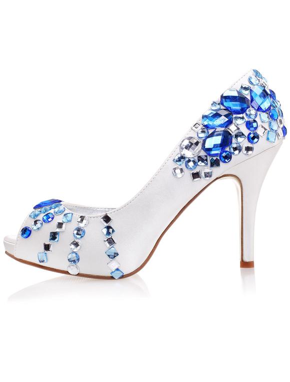 Zapatos peep toe de seda sintética con pedrería azul VO4r99