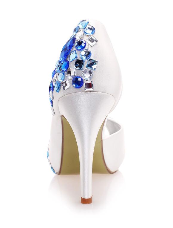 Zapatos peep toe de seda sintética con pedrería azul I8M96e