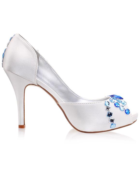Zapatos peep toe de seda sintética con pedrería azul Xtj7gXFmp5