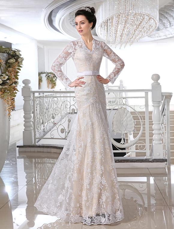 Wedding Dresses Lace Champagne Bridal Dress V Neck Long Sleeve Illusion Sheath Bow Sash Floor Length
