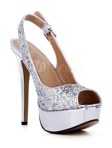 ... Fascinantes chaussures argentes à talons aigus peep-toe avec boucle  -No. ...