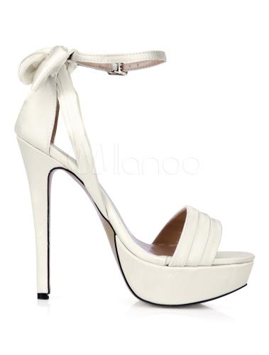 Boucle blanche Open Toe imité soie belles sandales de soirée et de mariée  -No.