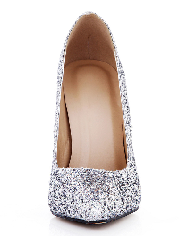 a66456303ed ... Pretty Silver Stiletto Heel Sequined Cloth Womens Pointy Toe Heels -No.6
