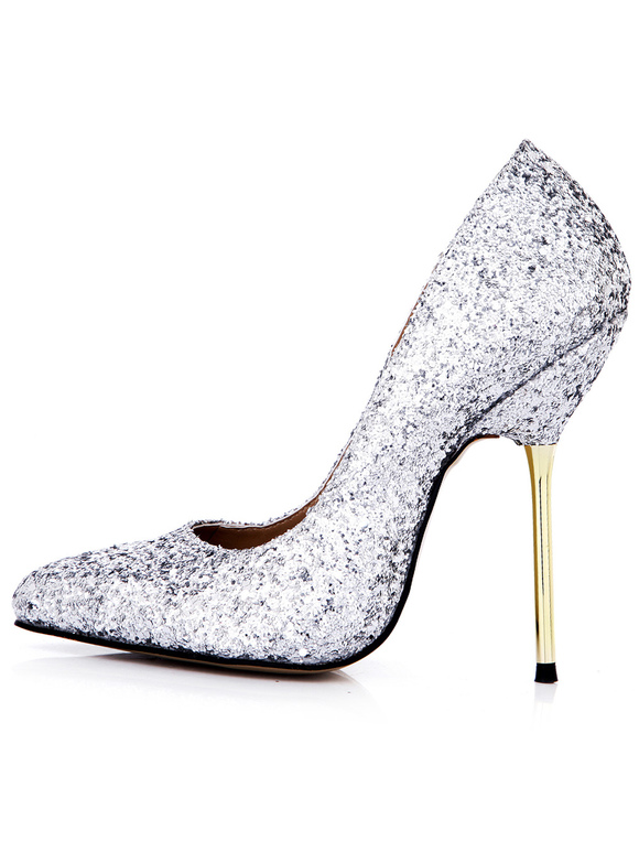 5cd1f197caf ... Pretty Silver Stiletto Heel Sequined Cloth Womens Pointy Toe Heels  -No.2 ...