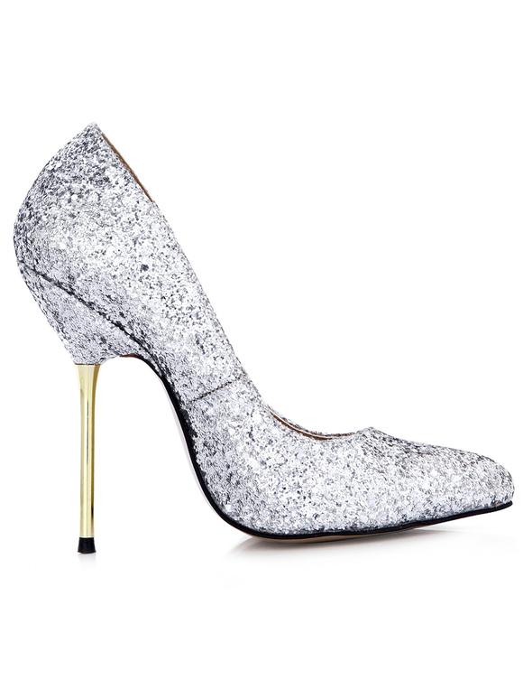 b493955bb36 ... Pretty Silver Stiletto Heel Sequined Cloth Womens Pointy Toe Heels  -No.4 ...