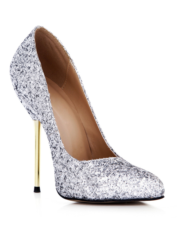 a1b63457bbd ... Pretty Silver Stiletto Heel Sequined Cloth Womens Pointy Toe Heels  -No.5 ...