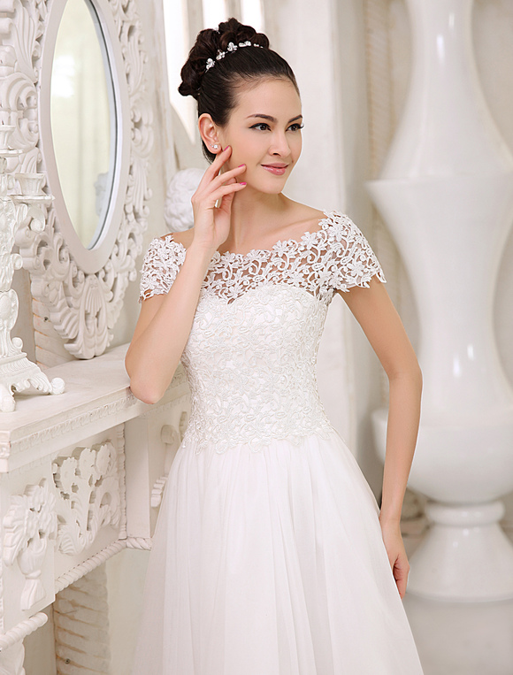 Ivory A-line Bateau Neck Lace Ankle-Length Tulle Bridal Wedding Dress  Milanoo