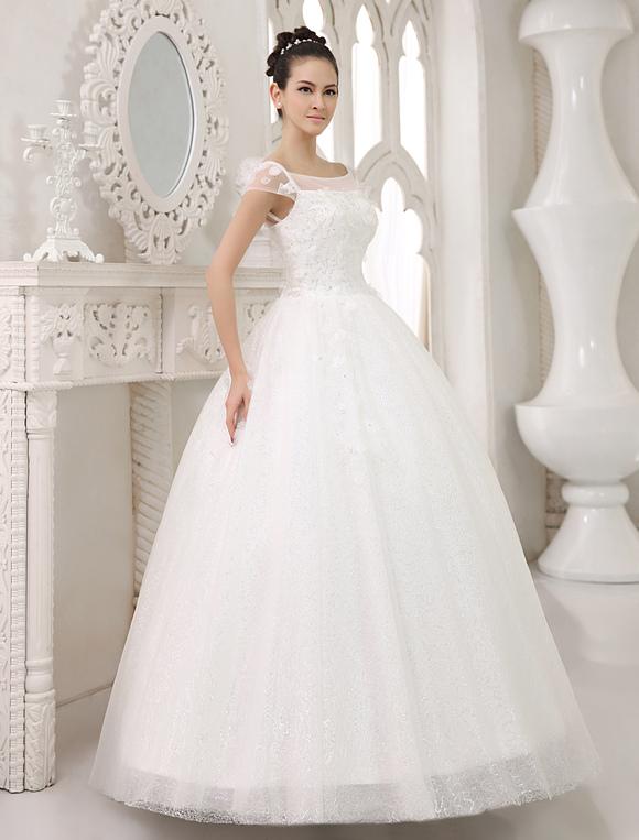 vestido de novia de tul con escote cuadrado y lentejuelas milanoo