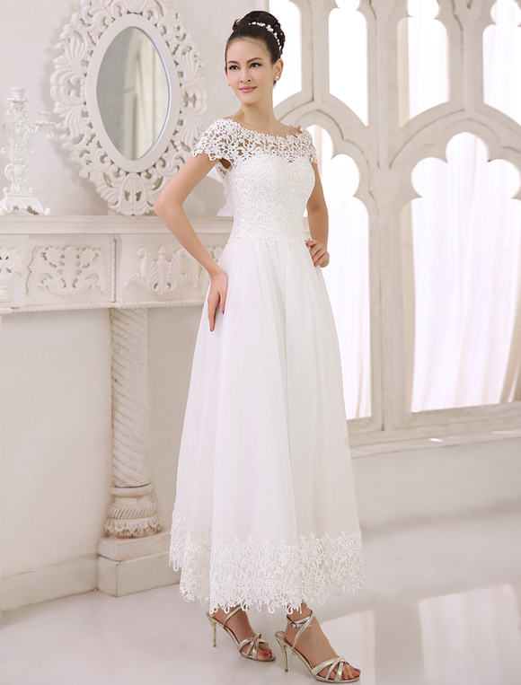 Ivory a line bateau neck lace ankle length tulle bridal for Lace ankle length wedding dress