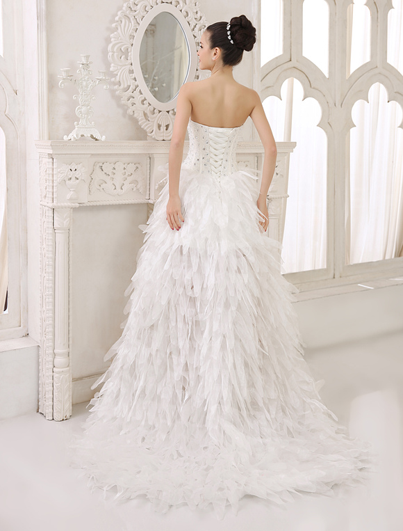 2aba41c1e49 Ivory A-line Strapless Sweetheart Neck Tiered Asymmetrical Bridal Wedding  Gown Milanoo-No.