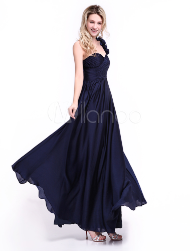 Vestidos azul marino en chifon