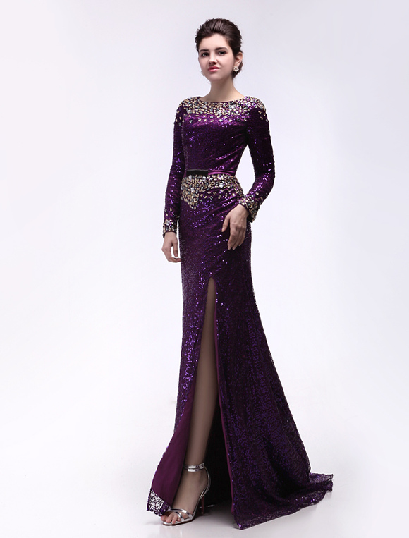 Prom Kleid mit Pailletten Maxi Abendkleid mit langen Ärmeln Anlässe ...