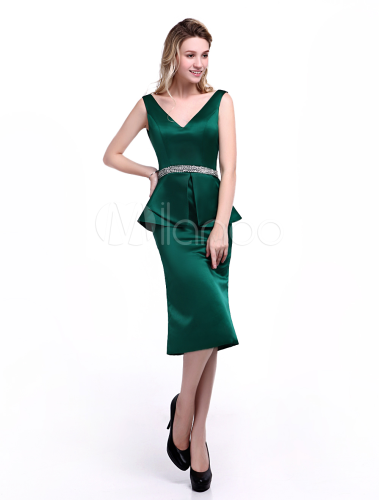 2da27a8005d6 ... Dark Green Dress For Mother of the Bride with Sheath Off-The-Shoulder  Satin ...