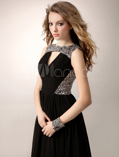 Schwarzes Prom Kleid aus Chiffon mit Pailletten und Schlitz ...