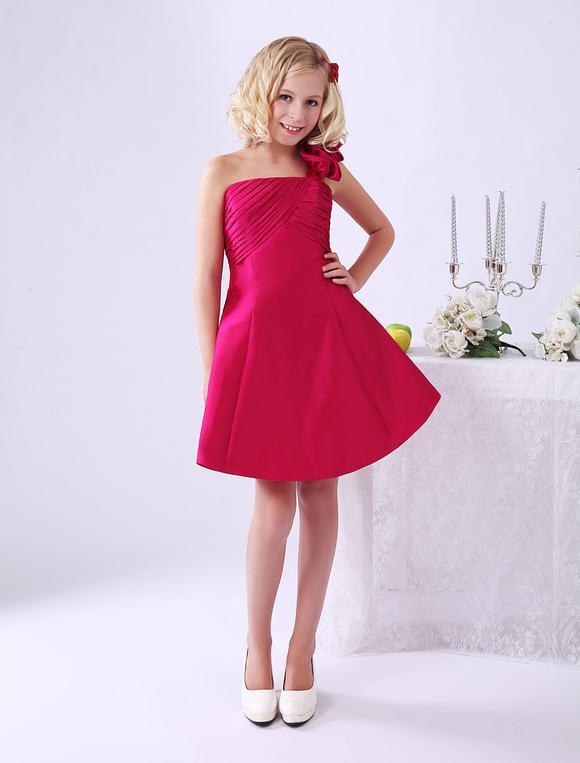 Hübsches One-Shoulder-Kleid für kleines Mädchen aus Taft - Milanoo.com