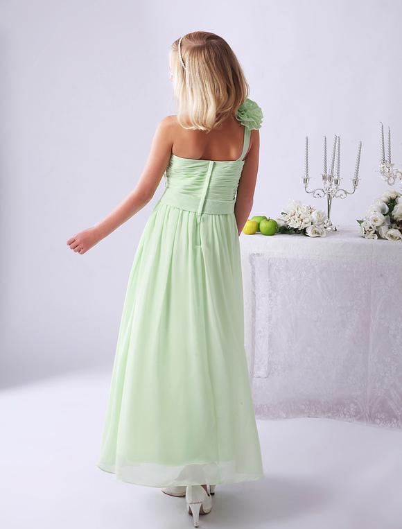Vestiti Verde Tiffany Bambina.Abiti Da Damigella D Onore Junior Vestito Da Bambina A Fiori Lungo In Chiffon A Fiori Verde Chiaro Con Spalle Scoperte