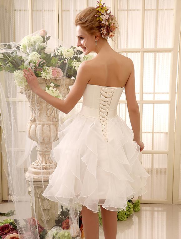Short Wedding Dress Strapless Tiered Bridal Dress Sweetheart ...