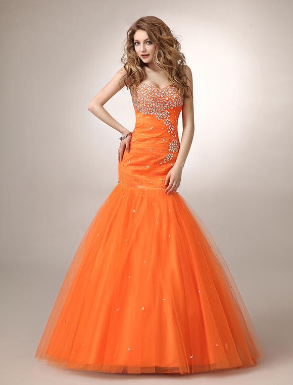 Mermaid Orange Rhinestone Tulle Prom Dress with Sweetheart . 31f9424eed8