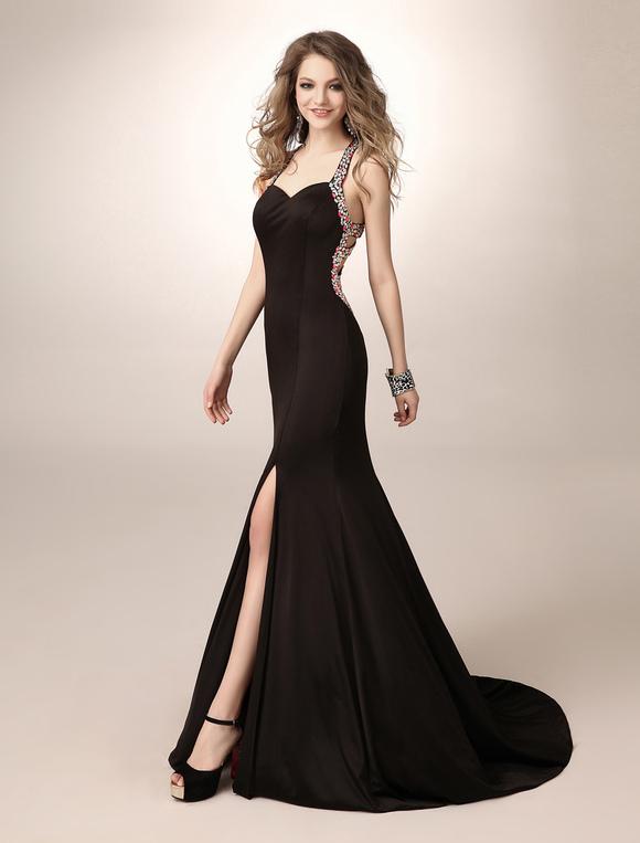Schwarzes Prom Kleid mit Kristallen und Schlitz - Milanoo.com