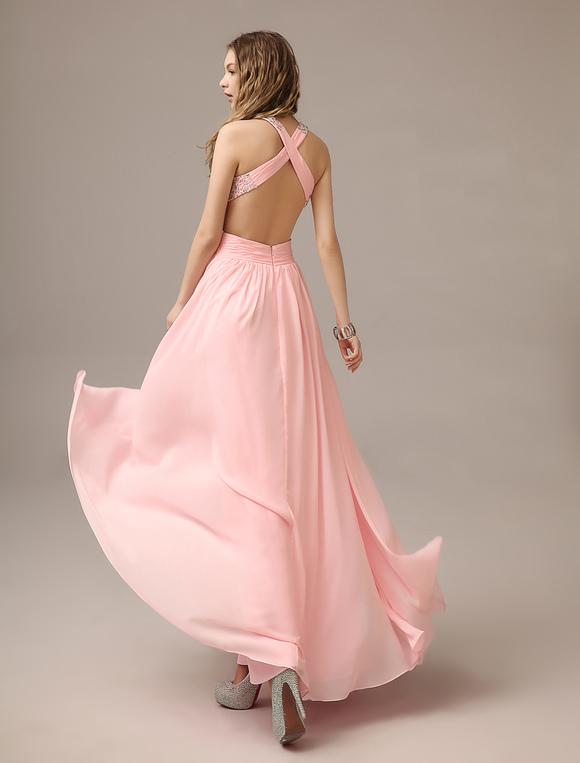 Rückenfreies Prom Kleid aus Chiffon mit Trägern in Rosa - Milanoo.com