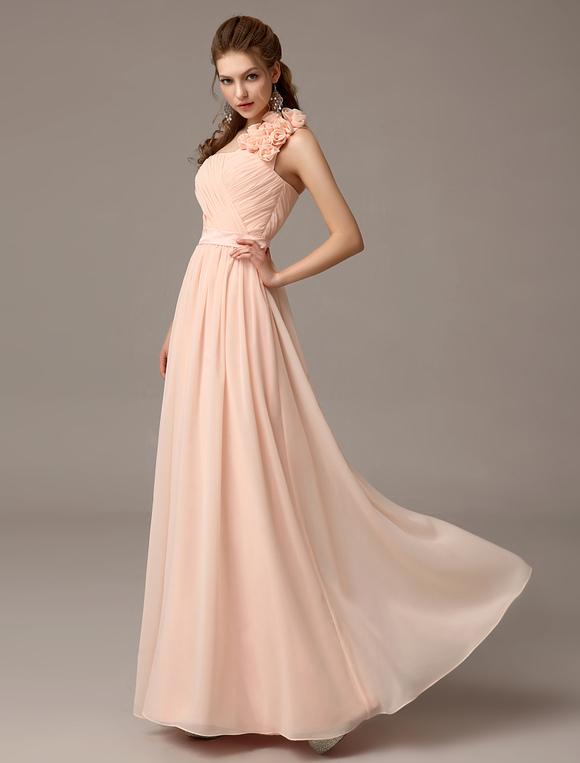 Gorgeous Floor-Length Nude Flower Chiffon Bridesmaid Dress