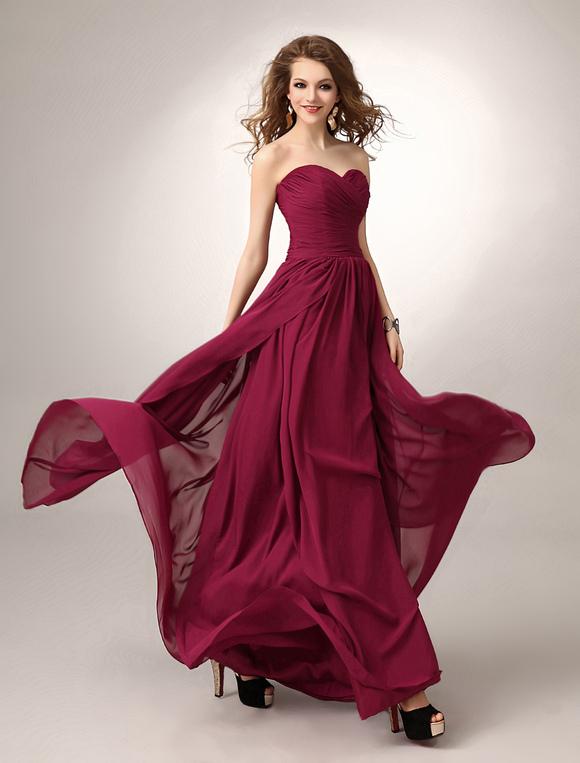 d64e2682997a ... Vestito da damigella d onore con scollo a cuore a-linea a terra piegato  ...