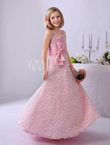 1c49760fdc8e ... Vestito da damigella per bambina rosa in tulle a terra Milanoo-No. ...