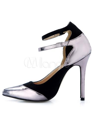 Zapatos puntiagudos de satén elástico de color bronce LdDtxv0