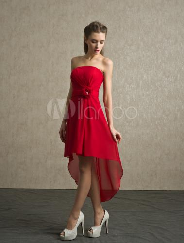 Vestido De Damas De Honor De Chifón Rojo Sin Tirantes