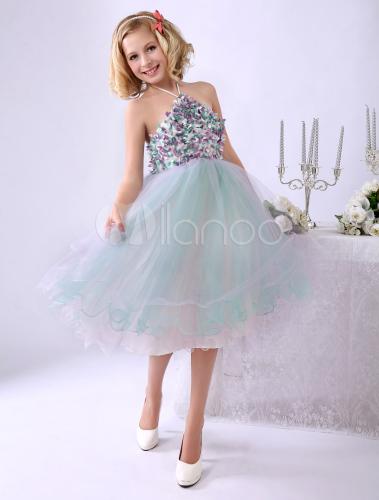 online store 6a2da ab719 Vestito da damigella per bambina in tulle a fiori al ginocchio Milanoo