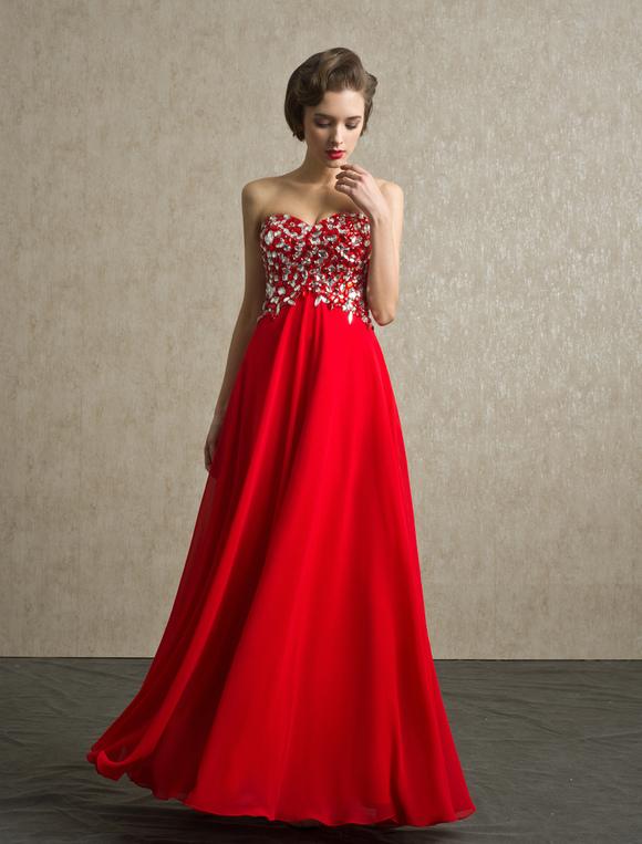 Robe de bal rouge bustier