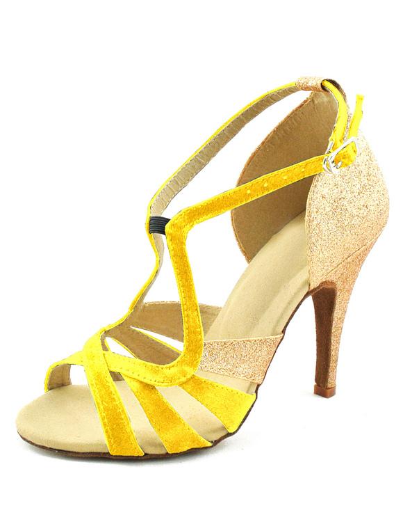 ... Chaussures danse latine creusées en satin à peep-toe -No.4 ...