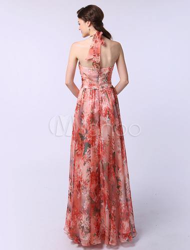 Milanoo / Chiffon A-line Halter Sleeveless Ruched Flower Print Prom Dress