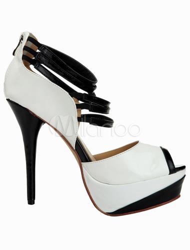 Zapatos peep toe de Charol PU con cremallera My4iMsosk