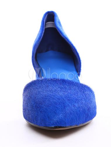 6cbf1eafe40 ... Sexy Royal Blue Chunky Heel Horse Hair Womens Pointy Toe Heels -No.5 ...