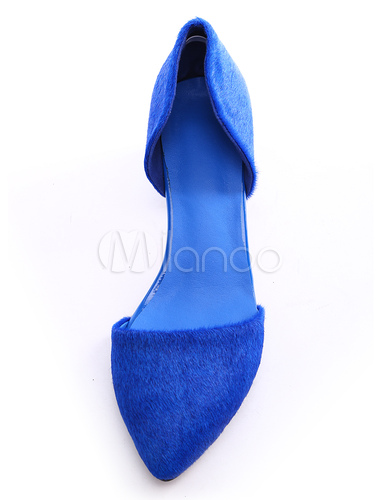 9c30af2e638 ... Sexy Royal Blue Chunky Heel Horse Hair Womens Pointy Toe Heels -No.9. 12