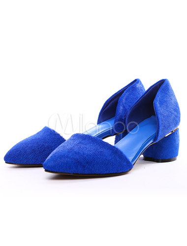 b4c1439682c ... Sexy Royal Blue Chunky Heel Horse Hair Womens Pointy Toe Heels -No.9