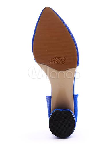 69320c3cd77 ... Sexy Royal Blue Chunky Heel Horse Hair Womens Pointy Toe Heels -No.8 ...