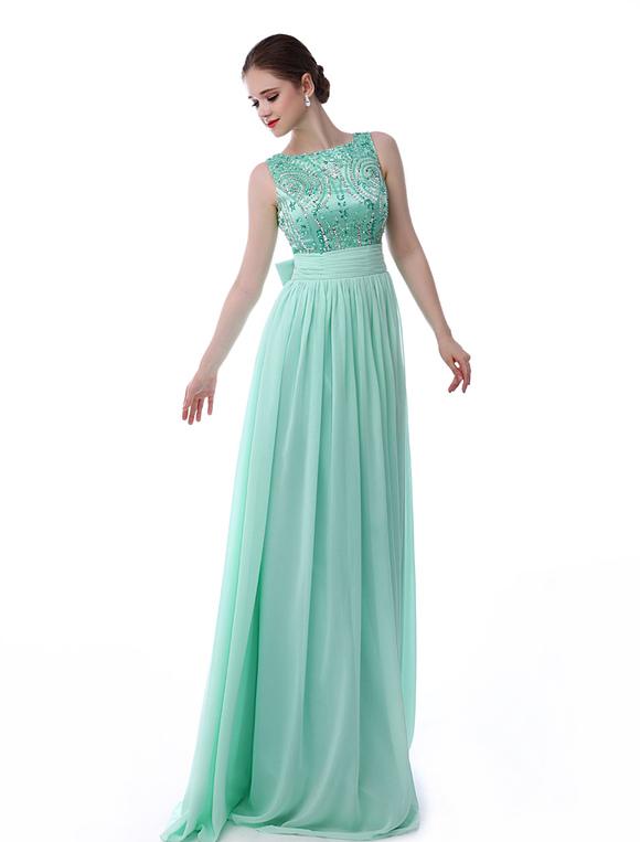 Minze grün Prom Kleid V-Rücken Strass Bow Sash Pailletten Chiffon ...