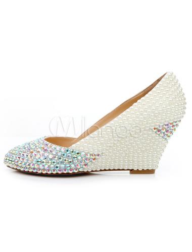 ... Chaussures en PU vernies blanches avec perles à talon compensé -No.2 ...