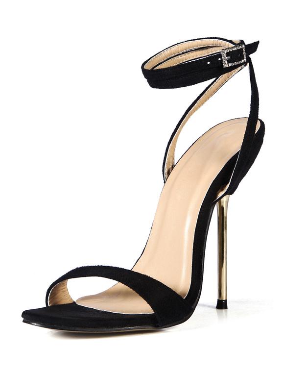 ... Sandales noires en satin stretch poncé avec ruban haut à talon aigu  -No.10 ...