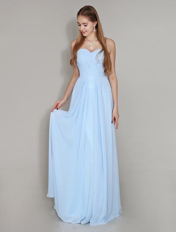 f9858d6c5b ... Vestido de damas de honor de chifón Azul menta con escote en corazón  sin mangas con ...