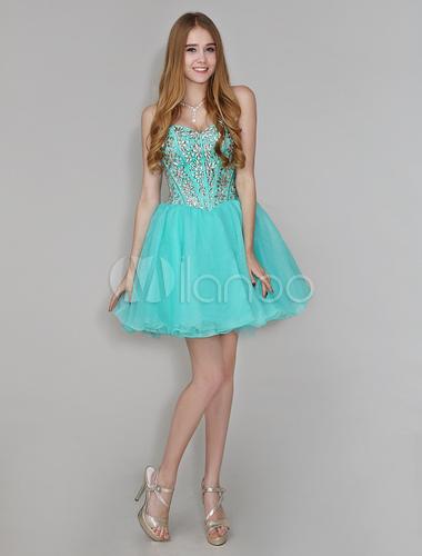 Vestido para formatura curto azul turquesa