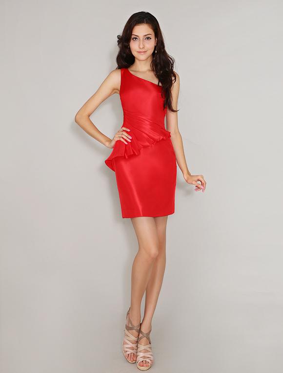 Brautjungfernkleid aus taft mit einschulter in rot kleider - Kleider milanoo ...