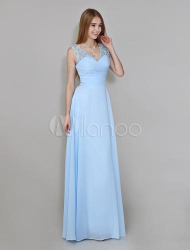 light sky blue vneck floorlength chiffon bridesmaid